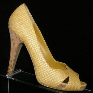 Nine West Jacero yellow woven raffia cork heels 7M
